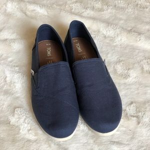 Blue Navy Toms - Worn Once